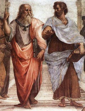 أفلاطون (إلى اليسار) وأرسطو (إلى اليمين)